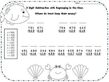 3 Digit Addition and Subtraction Jokes