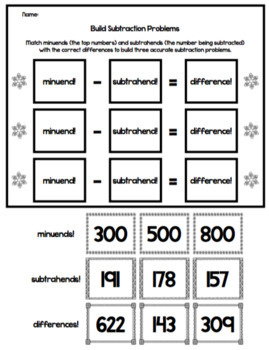 3 Digit Addition and Subtraction Math Practice with Regrouping - Snowy, Winter