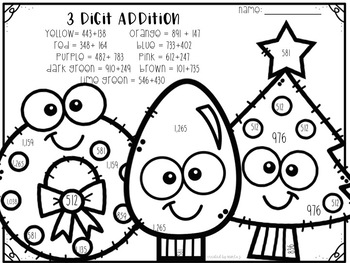 3 Digit Addition and Subtraction Number Christmas Themed