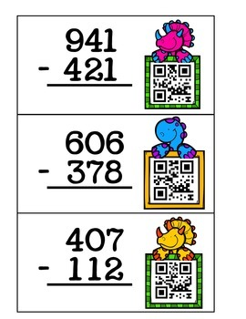 3 Digit Addition and Subtraction QR Cards (With and Without Regrouping)