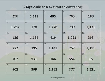 3 Digit Addition and Subtraction Scoot Activity/Task Cards