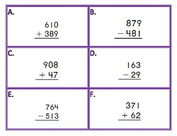 Addition and Subtraction Task Cards multi-digit