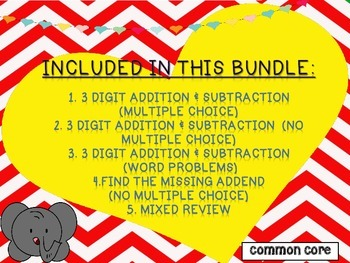 3 Digit Addition and Subtraction Task Cards  Bundle