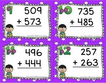 3 Digit  Addition and Subtraction Task Cards Bundle (Spring theme)