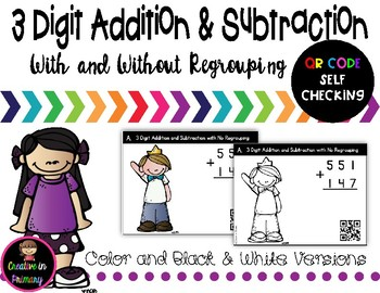 3 Digit Addition and Subtraction Task Cards NO Regrouping – QR Code Self Check