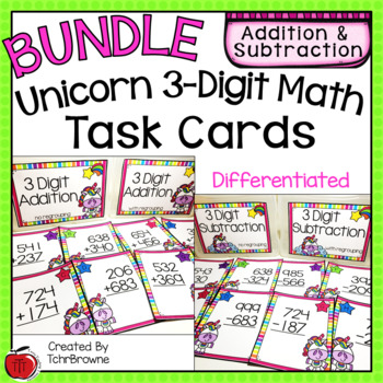 3-Digit Addition and Subtraction Task Cards - Unicorn Theme