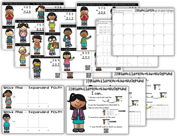3 Digit Addition and Subtraction Task Cards with Regrouping – QR Code Self Check