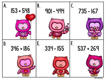 3 Digit Addition and Subtraction Valentine's Centers