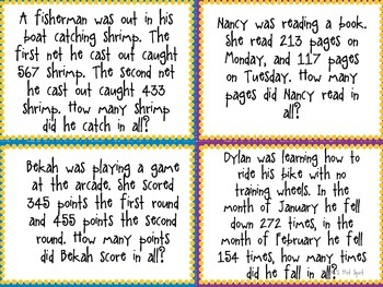 3 Digit Addition and Subtraction With Regrouping Word Problem Task Cards