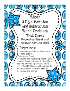 3 Digit Addition and Subtraction Word Problem Task Cards