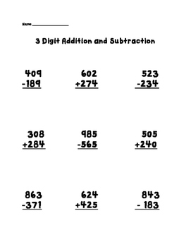 3 Digit Addition and Subtraction Worksheet