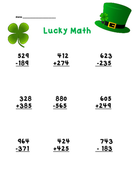 3 Digit Addition and Subtraction Worksheet St Patricks Day