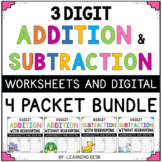 3 Digit Addition and Subtraction Worksheets-Distance Learning Packet First Grade