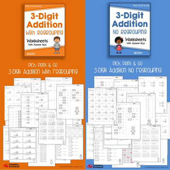 3 Digit Addition and Subtraction Worksheets With / No Regrouping Bundle
