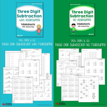 3-Digit Adding And Subtracting Worksheets, With And Without Regrouping, Zeroes