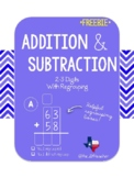 3 Digit Addition, Subtraction, and Mixed Practice with Regrouping