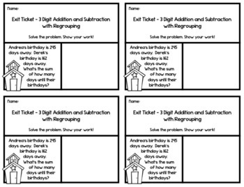 3 Digit Addition and Subtraction with Regrouping Exit Tickets -20 Assessments