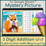 3 Digit Addition and Subtraction with Regrouping | Mystery Picture | Fox