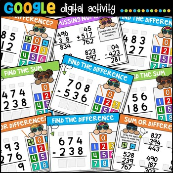 3 Digit Addition and Subtraction with Regrouping for Google Classroom