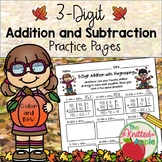 3-Digit Addition and Subtraction with and without Regrouping {Fall Theme}