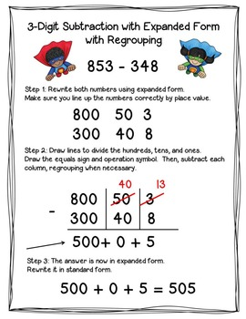 3-Digit Addition and Subtraction with and without Regrouping {Superhero Theme}