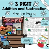 3-Digit Addition and Subtraction with and without Regrouping {Winter Theme}