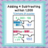 3 Digit Addition and Subtraction with Regrouping Game Puzzles 3.NBT.2
