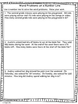 3 Digit Addition on a Number Line Worksheets