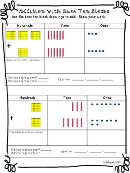 3 digit addition using base ten blocks worksheets by