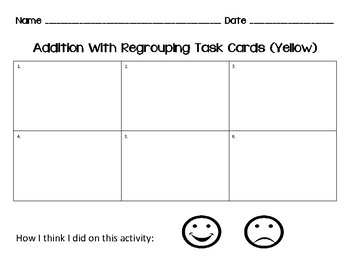 3 Digit Addition w/ Regrouping Task Cards- 3 Levels