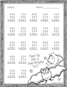 3 Digit Addition with 3 Addends-Halloween Themed