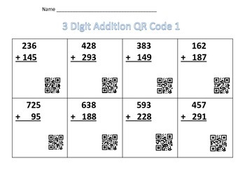 3 Digit-Addition with QR Code Packet