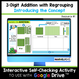 3 Digit Addition with Regrouping #1 - Base 10 Blocks - Distance Learning