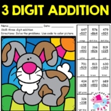 3 Digit Addition with Regrouping Color by Number Rabbit