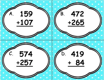 3-Digit Addition with Regrouping Task Cards