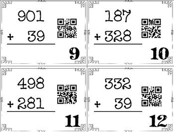 3-Digit Addition with Regrouping Task Cards with QR Codes