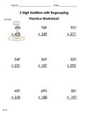 3 Digit Addition with Regrouping Worksheet Practice