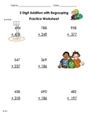 3 Digit Addition with Regrouping Worksheet Practice EARTH DAY
