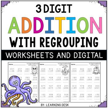 3 digit addition with regrouping worksheets by learning desk tpt. Black Bedroom Furniture Sets. Home Design Ideas