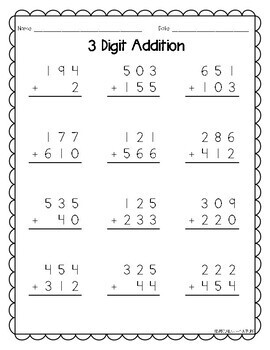 3 Digit Addition with and without Regrouping
