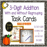 3 Digit Addition Halloween Math Task Cards