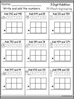 3 Digit Addition without Regrouping Worksheets