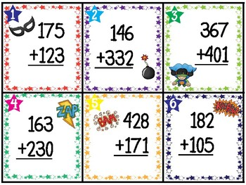 3-Digit Addition without regrouping 30 TASK CARDS (with answer key)