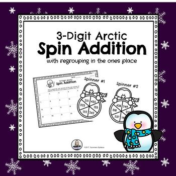 3-Digit Arctic Addition Spin Math Center (with regrouping in ones place)