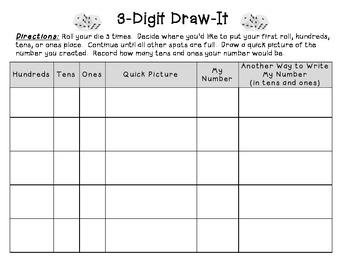 3-Digit Draw-It (quick pictures- Go Math)