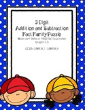 3 Digit Fact Family 2 piece puzzles