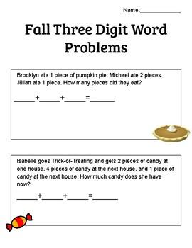 3-Digit Fall Addition Word Problems Worksheet