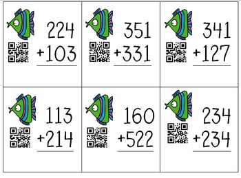 3 Digit Go Fish Self-Checking QR Code Addition w/wo Regrouping Task Cards