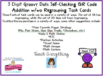3 Digit Groovy Dots Self-Checking QR Code  Addition w/wo Regrouping Task Cards