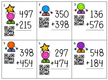 3 Digit Groovy Dots Self-Checking QR Code  Addition w/wo R